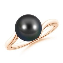 Solitaire 9mm Tahitian Cultured Pearl Bypass Ring 14K Gold/ Silver Size ... - $245.16+