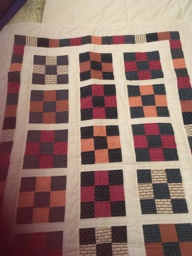 Handmade baby Or Lap quilt using Vintage Print Fabrics In Red And Navy