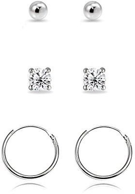 3 Pairs Sterling Silver 10mm Endless Hoops, 2mm Round CZ And Ball Stud Unisex