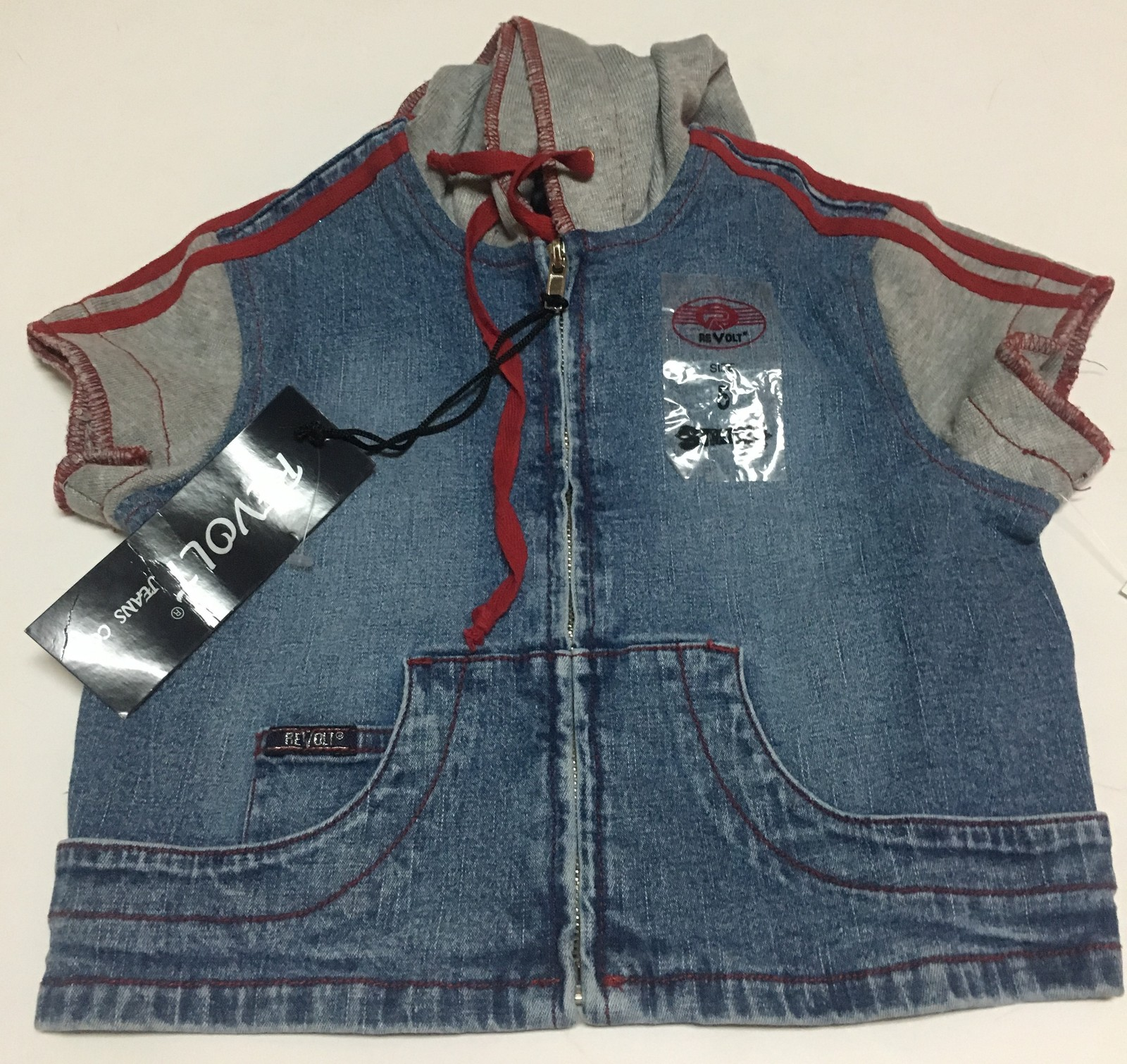 Revolt Blue Short Sleeve Hooded Jean Jacket Toddler's Sz 5