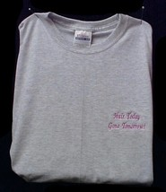 Breast Cancer Awareness T Shirt L Hair Today Gone Tomorrow Gray S/S Unisex New - $17.61