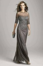 Adrianna Papell Beaded Illusion Bodice Mesh Gown Sz 8 Lead - $128.00