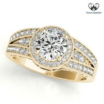 925 Silver 14k Yellow Gold Plated Round Cut Diamond Women's Band Engagem... - $92.99
