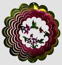 "Hummingbird Wind Spinner Flowers New Zephyr Spiral 12"" Steel Great World Co - $25.73"