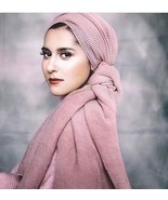Hijabs Scarf Plain Winter Warm Wrinkled Muslims Headwraps Fashion Solid ... - $8.86