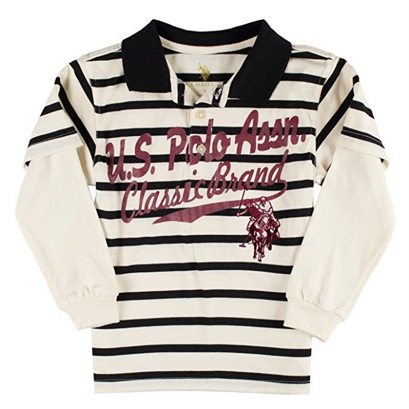 Boy's 4-7 U.S Polo Assn. Classic Brand Layered Long Sleeve Shirt White Stripe