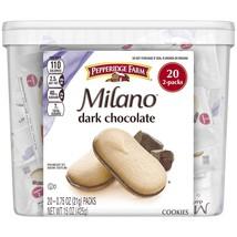 Pepperidge Farm Milano Cookies, Dark Chocolate, 20 Packs, 2 Cookies per Pack - $12.00