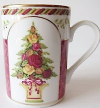 Royal Albert SEASONS OF COLOUR-RED Accent Mug Floral/Stripe Topiary - $37.39