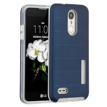 Ink Blue Dots Textured/Clear Fusion Case Cover for LG Tribute Empire/Ari... - $11.07