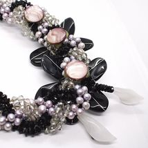 Necklace Braided, Agate Black Banded, Nacre, Flowers, Calla, Daisies image 6