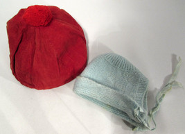 Vintage Baby or Child Crocheted Blue Hat Red Corduroy Hat Circa 1940s-60s - $7.91