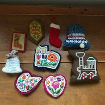 Estate Lot of 9 Handmade Embroidered Needle Point Crocheted Christmas Tr... - $10.39