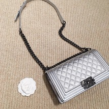 AUTH CHANEL LIMITED EDITION METALLIC SILVER PERFORATED LAMBSKIN MEDIUM BOY BAG  image 11