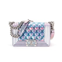 100% AUTHENTIC CHANEL 2018 S/S MERMAID SMALL BOY FLAP BAG IRIDESCENT RARE - $4,888.00