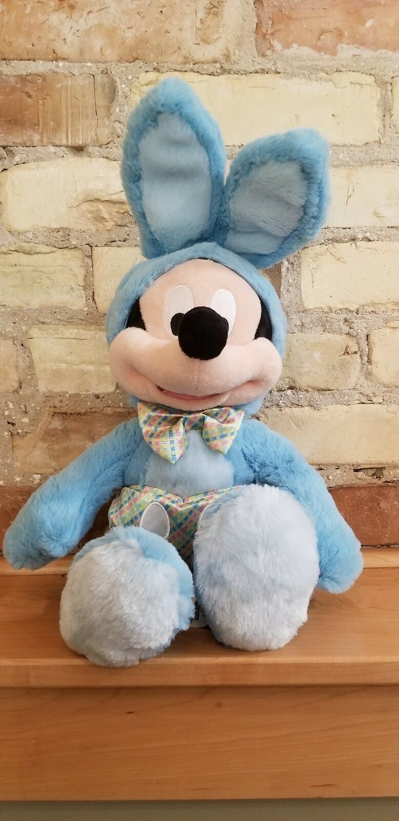 """New Disney Store Authentic Mickey Mouse Easter Bunny Blue Cute Plush 18"""""""