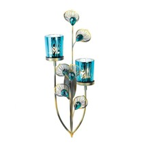 "Peacock Plume Wall Sconce Candle Holder Blue Glass Gallery 14.5"" NIB SL ... - $21.44"