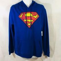 DC Comics Superman Hoodie Blue Young Mens Licensed Fleece Size Medium New - $32.67