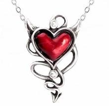 Naughty Love Red Devil Heart Pendant Devilish Horns Tail Crystals ULFP20... - $31.00