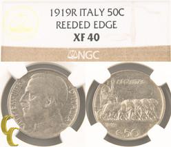 1919-R Italy 50 Centesimi Reeded Edge (NGC XF40) Italian 50c Cent KM#61.... - $801.90