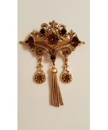Unsigned Florenza Baroque Topaz and Onyx Gold Tone Chain Fringe Tassel B... - $45.00