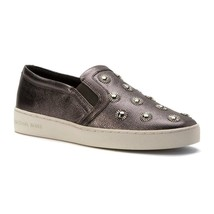 Michael Kors Women's Leo Slip On Metallic Leather Sneakers Shoes Gunmeta... - $94.95