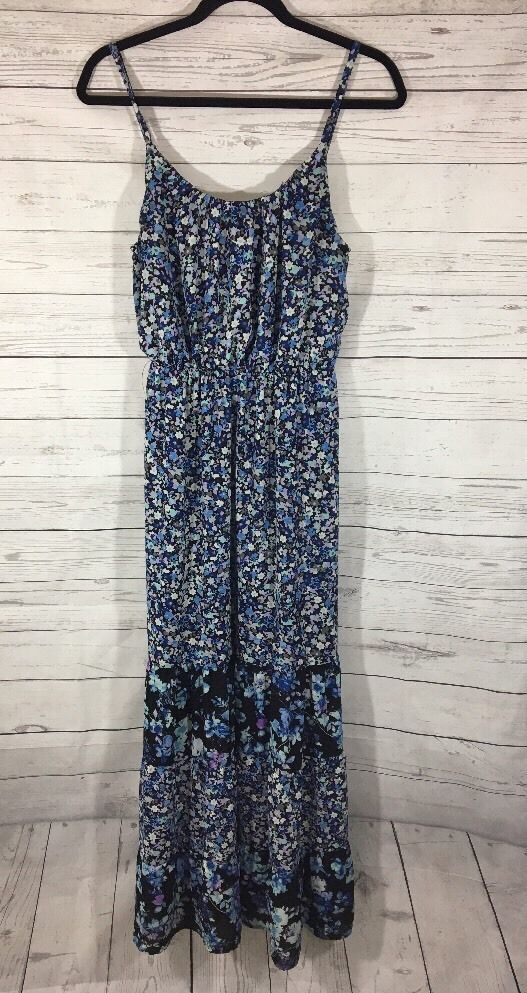 Womens ELLE Blue Floral Maxi Dress Sz Small Ruffle Hi-low Hem Summer Sleeveless