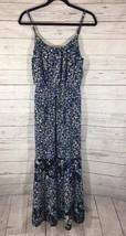 Womens ELLE Blue Floral Maxi Dress Sz Small Ruffle Hi-low Hem Summer Sle... - $14.84
