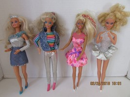 MATTEL BARBIE DOLLS 4 WITH CLOTHES TAGGED SILVER PANTS & DRESS PINK HEAR... - $9.95