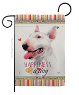 White Bull Terrier Happiness - Impressions Decorative Garden Flag G16023... - $19.97