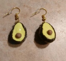 Miniature Avocado Charm Earring Clay Charm Gold Tone Fruit/Vegetable Charm - $6.00