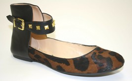 Womens Jessica Simpson MUNNEY 2 Ballet Flats Black Brown Simba Leopard Studs - $41.35