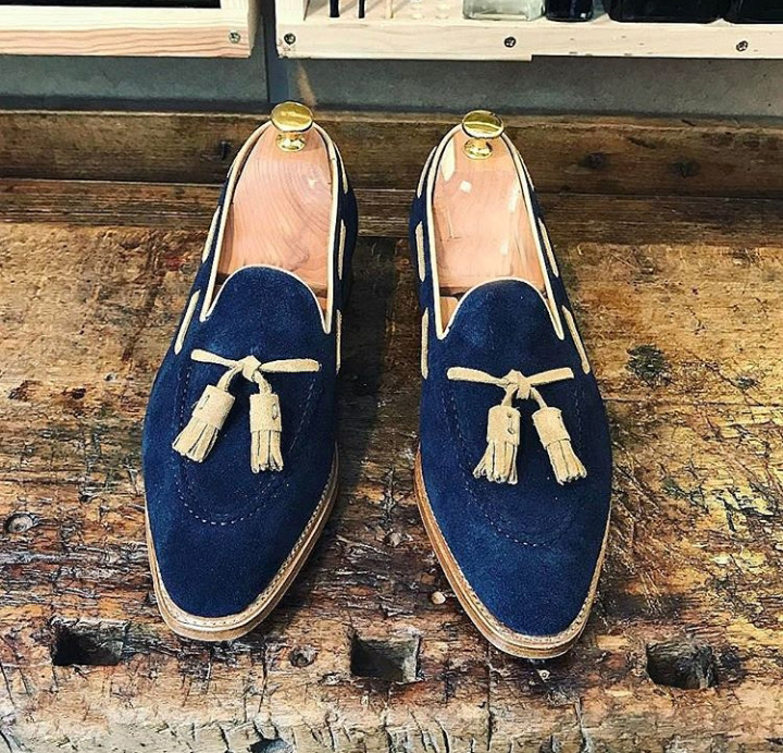 Men Suede Leather Blue Color Tassel Loafer Slip Ons Handcrafted Party Wear Shoes