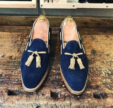 Men Suede Leather Blue Color Tassel Loafer Slip Ons Handcrafted Party Wear Shoes image 2