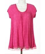 Donna Karan New York Dkny T-Shirt Rose Subtil Motif Pur Bordure TAILLE M... - $32.76