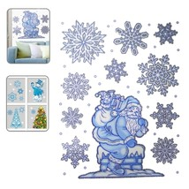 Christmas Series Snow and Santa Claus Pattern Glitter Window Stickers - $7.49