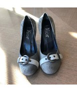 Pre-owned DIOR Gray fabric & Stamped Leather Pumps SZ 6.5 - $88.11