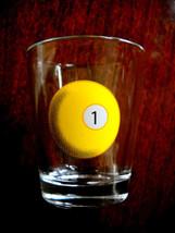 Yellow #1 Pool Table Ball Pool Game Bar Room Shot Glass 2 OZ. Man Cave - €3,47 EUR