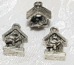 BIRDHOUSE WITH BIRD FINE PEWTER PENDANT CHARM - 12mm L x 18mm W x 6mm D