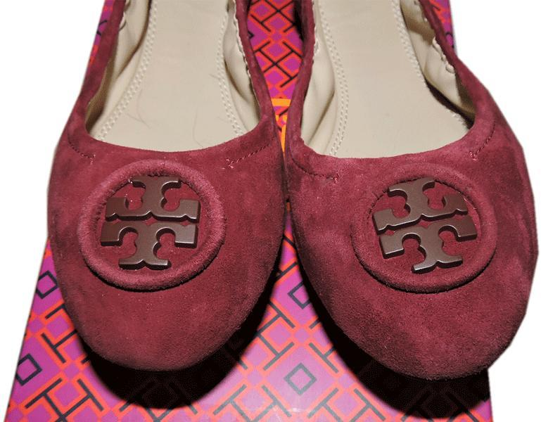 44806f0b80e7 2129. 2129. Previous. Tory Burch Allie Ballerina Flats Burgundy Logo Minnie  Reva Suede Ballet Shoe 7