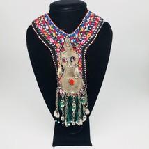 Vintage Turkmen Choker Necklace Pendant on Hand Sawn Soft Fabric Handmade,TN200 - $24.00
