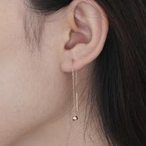 Ear Thread Series 18k Rose Gold Mesh Chain Smooth Ball Dangle Earrings image 6
