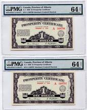 2x CONSECUTIVE SERIAL NUMBER 1936 Alberta Prosperity Certificates CH Unc 64 - $749.99