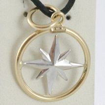 18K WHITE YELLOW GOLD 17 MM WIND ROSE COMPASS CHARM PENDANT, STAR, MADE IN ITALY image 3