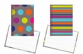 "Hardback Notebook Set, Dots & Stripes - 2 notepads, 8.5"" x 5.75"" Lined P... - $12.71"