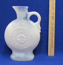 Vintage Opalescent Milk Glass Decanter Pitcher White Blue Hues Jim Beam Liquor - $16.82