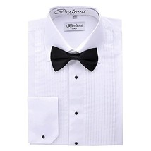 Berlioni Italy Men's Tuxedo Dress Shirt Wingtip & Laydown Collar With Bow-Tie (5