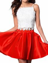 Womens Short Two Piece Lace Homecoming Dress Spaghetti Straps Prom Dress... - $88.99