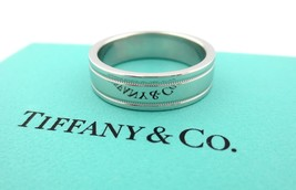 Tiffany & Co Platinum Flat Double Milgrain Wedding Band Ring 6mm Size 8.... - $1,495.00