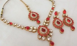 Indian Ethnic Style Gold Plated Red Fashion Wedding Bridal Jewelry Necklace Set - $13.09