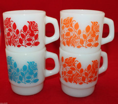 Set of 4 Anchor Hocking Milk Glass Coffee Tea Cups White Rose Flowers AS-IS - $66.71